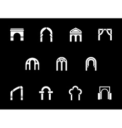 Architectural arches white glyph icons vector image