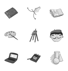 Artist and drawing set icons in monochrome style vector