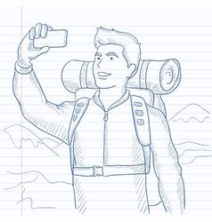 Backpacker making selfie vector