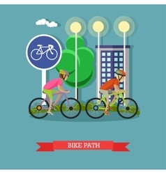 Bicycle riders on bikes in city park Biking sport vector image vector image