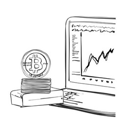 Bitcoin hand drawn sketch cryptography vector