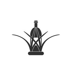 black icon on white background bottle in grass vector image vector image