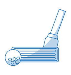 Blue shading silhouette cartoon closeup golf club vector