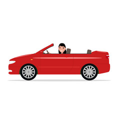 Cartoon girl riding in a red car cabriolet vector
