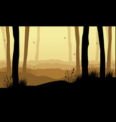 Collection of forest with tree at sunset vector
