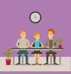 Color background with group people sitting in vector