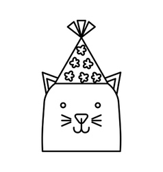 Cute cat with hat party vector
