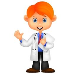 Cute little male doctor cartoon waving hand vector