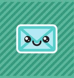 cute smiling kawaii cartoon mail envelope icon vector image vector image
