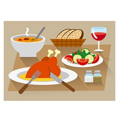 dinner icon set vector image vector image