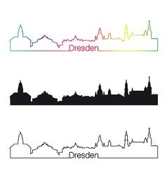 Dresden skyline linear style with rainbow vector