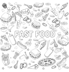 Fast food coloring book design line art vector image vector image