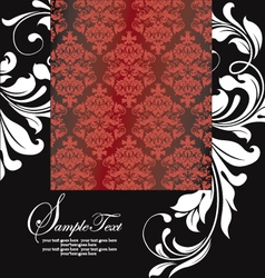 FLORAL DAMASK INVITATION CARD vector image