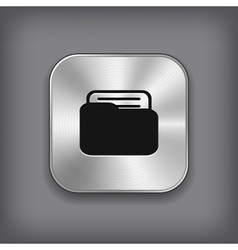 Folder icon - metal app button vector image