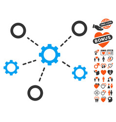 gears relations icon with love bonus vector image