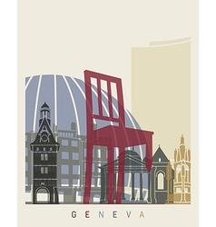 Geneva skyline poster vector image vector image