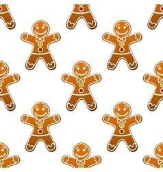 Gingerbread man cookie seamless pattern vector image vector image