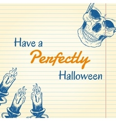 Halloween doodle - candles and skull vector image