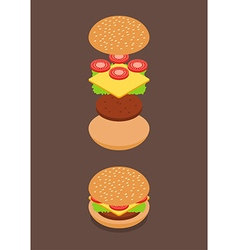 Isometric of burger ingredients vector