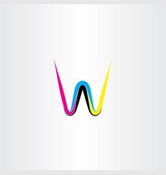letter w cmyk colorful icon logo vector image
