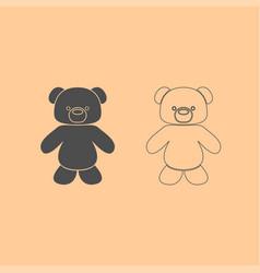 Little bear dark grey set icon vector