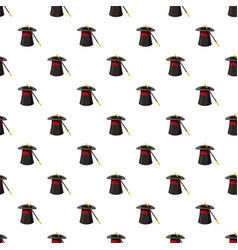 Magic hat and wand pattern vector