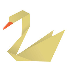 Origami swan icon cartoon style vector