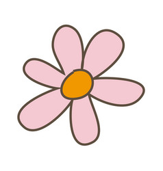 Pink flower with oval petals icon vector