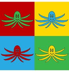Pop art octopus icons vector image vector image
