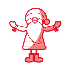 Red silhouette caricature of santa claus with open vector