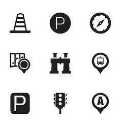 set of 9 editable map icons includes symbols such vector image