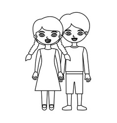 Sketch silhouette couple boy in shorts and girl vector