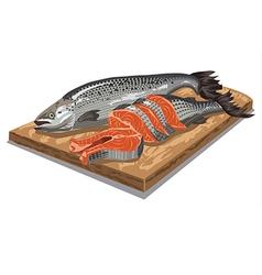 Sliced salmon fish vector