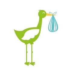 stork with bag baby isolated icon vector image vector image