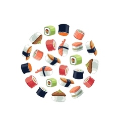 Sushi rolls flat food background picture vector