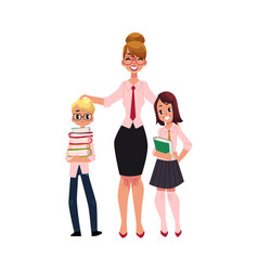 teacher and students - boy and girl holding books vector image