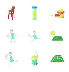 Tennis sport icons set cartoon style vector