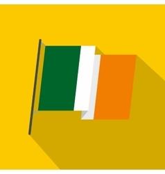 Waving flag of Ireland icon flat style vector image vector image