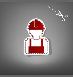 Worker sign red icon with for applique vector
