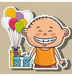 Boy balloons gifts vector