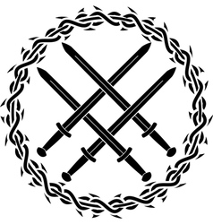 Viking symbol with swords vector