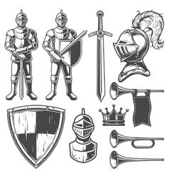 Set of vintage monochrome elements vector image