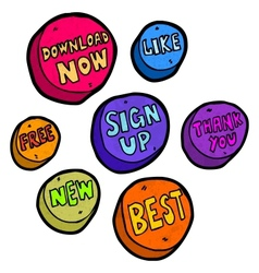 Set of hand drawn buttons vector image