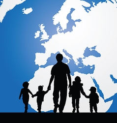 Migration father with children map in background vector