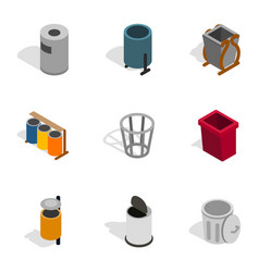 Trashcan icons isometric 3d style vector