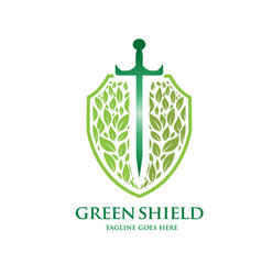 Green shield logo concept vector
