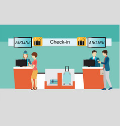 Business people checking in counter airplane vector