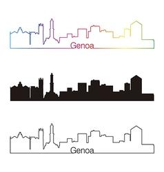 Genoa skyline linear style with rainbow vector image