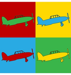 Pop art retro military airplane icons vector