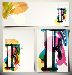 Artistic greeting card letter f vector
